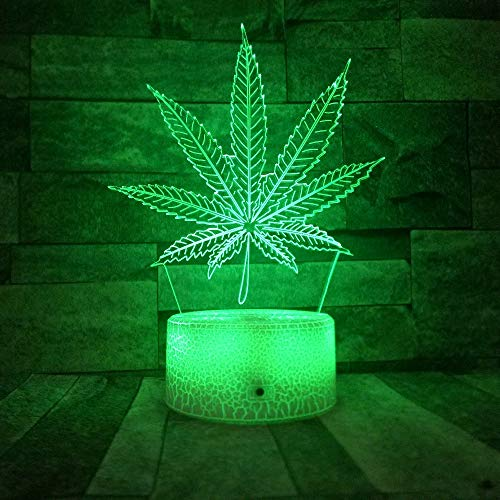 Nuevo Crack Base Cannabis Leaf Night Light Variable Weed 3D Illusion Light Optical Vision Lámpara de Escritorio Meeting Party Decoration 6 Control Remoto