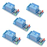 Oiyagai 5pcs 5V 1 Channel Relay Module Low Level Trigger Relay Board for Arduino ARM PIC AVR MCU with LED Indicator Light