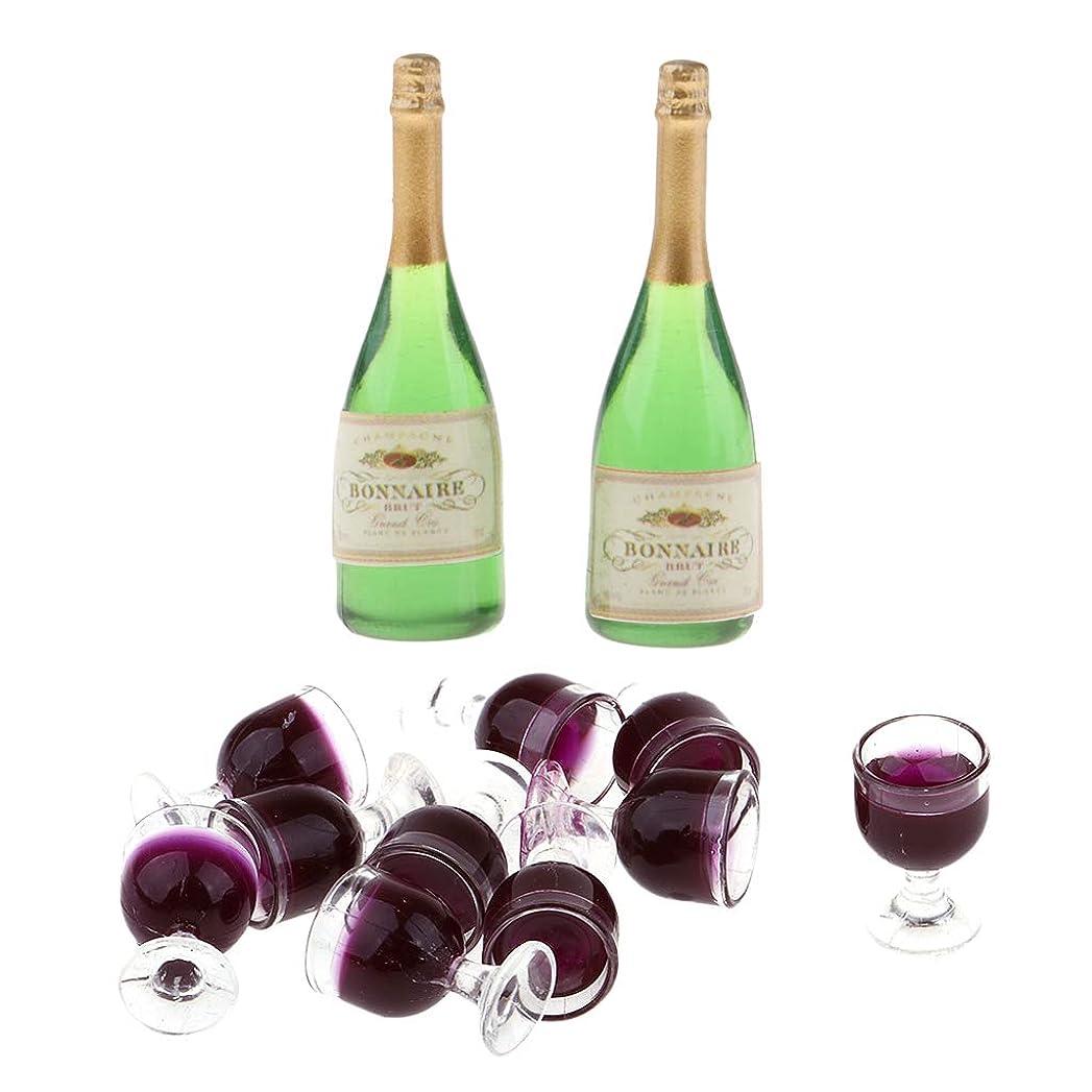 スライム注入するまともなlahomia 10個1/12ドールハウスミニチュアワイングラスゴブレット+ 2個のワインボトル