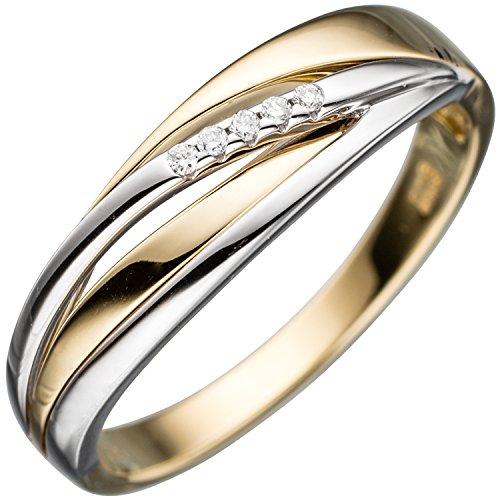JOBO Damen Ring 585 Gold Gelbgold Weißgold bicolor 5 Diamanten Brillanten Goldring Größe 56