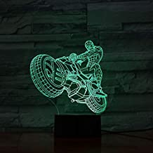 Wedding Gift 3D Motorcyclist Lamp with Reward for Baby Night Light Led Night Light Lamp Multicolor Lampara