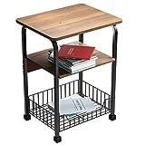 Tavolino quadrato in legno con gambe in ferro battuto con pannello in legno e ripiano/cassettiera con griglia