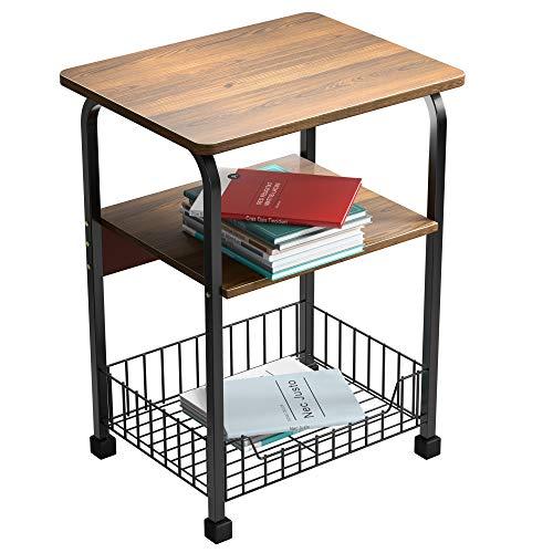 Mesa de centro cuadrada de madera con patas de hierro forjado con panel de madera y estante/cómoda con rejilla