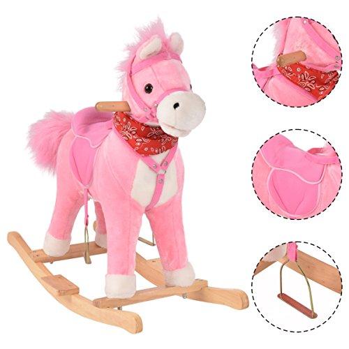 COSTWAY Schaukelpferd Kinder | Schaukeltier 74 x 33 x 62 cm | Schaukelspielzeug mit Musik | Spielzeug Plüschschaukel(Rosa)