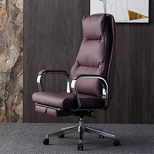 Silla tumbona Silla de cuero de cuero, silla de oficina, silla de computadora reclinable, silla ejecutiva de negocios, silla de estudio de espalda alta látex Cojín de resorte (Color: Cuero de vaca neg