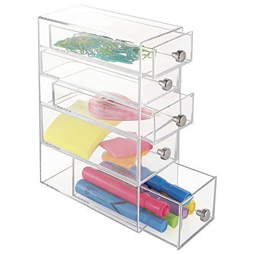 mDesign Organizador de escritorio para la oficina – Caja organizadora de plástico con 5 cajones para accesorios de escritorio – Organizador de armarios y escritorio para el despacho – transparente