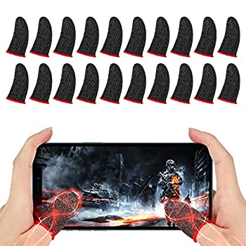Newseego Finger Sleeve Sets for Gaming Mobile Game Controller Thumb Sleeves [20 Pack] Anti-Sweat Breathable Touchscreen Sensitive Aim Joysticks Finger Set for Rules of Survival/Knives Out  Red