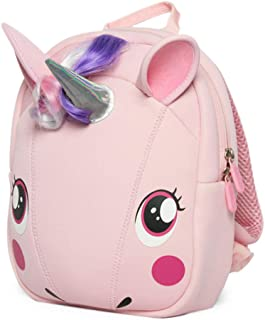 Supercute Animal Unicorn Kids Backpack with Leash Suitable for 1-8 Years Girls Outdoor Travel, Small Kids Backpack(Pink)