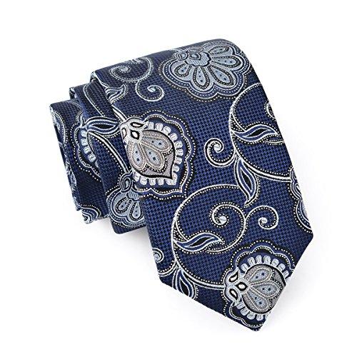 Massi Morino ® Seidenkrawatten für Herren - handgenähte Krawatte blau dunkelblau naviblau marineblau ozeanblau blauekrawatte dunkelblauekrawatte paisley paisleykrawatte paisleymotiv