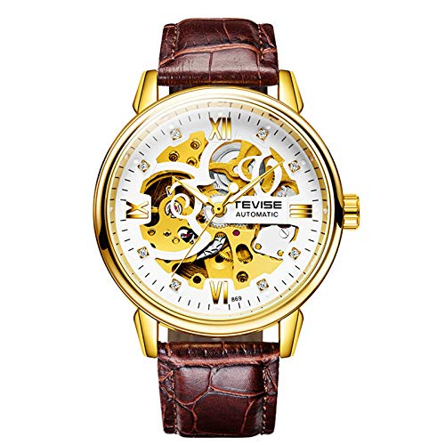 QZPM Hombre Automático De Pulsera Mecánico Relojes Luminoso Analogico Multifunción Impermeable Cronógrafo Moda Cuero Reloj De Negocios,Blanco