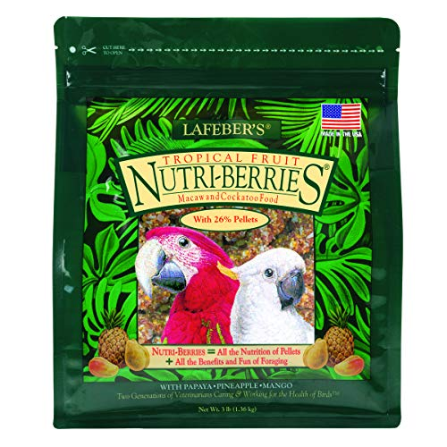 LAFEBER'S Tropical Fruit Nutri-Berries Pet Bird Food, Made with Non-GMO and Human-Grade Ingredients, for Macaws and Cockatoos, 3 lb