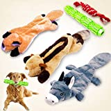 Durable Dog Toys for Aggressive Chewers Indestructible Large Dog Toys Dog Squeaky Toys Stuffed Big Dog Toys Plush Pet Toys Tough Dog Toys for Small to Large Dogs (3 Pack, Yellow)