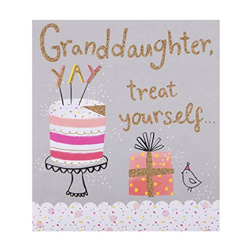 Tarjeta de cumpleaños para nieta de Hallmark – diseño de tarta de cumpleaños con purpurina