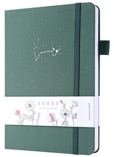 Bullet Dotted Journal -A5 Dot Grid Notebook 160gsm Pages Number Bleedproof Paper,Hardcover Dot Journal with Inner Pocket