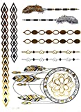 Oh My Shop–tys50–Tatuaggi Temporanei, 1fiocco, Metallic, Body Art Motivi Etnico–Argento/Oro/Nero