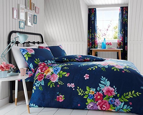 Gaveno Cavailia Luxurious Alice Bed Set with Duvet Cover and Pillow Cases, Polycotton, Navy, Single