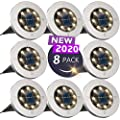 Solar Ground Lights?Disk Lights Solar Powered - 8 LED ?Outdoor in-ground Solar Lights for Landscape?Walkway?Lawn ?Steps Decks?Pathway Yard Stairs Fences, LED lamp, Waterproof(8 Warm White)