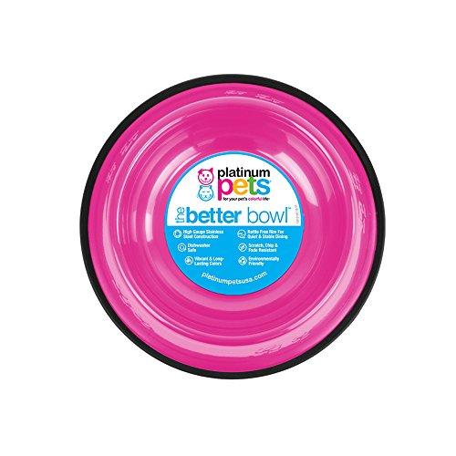Platinum Pets Non-Tip Stainless Steel Dog Bowl, 50 Oz, Bubble Gum Pink, Large