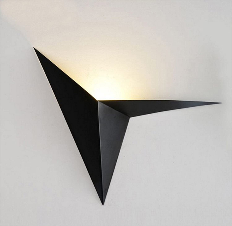 DITAIDENG Kreatives Schmiedeeisen profilierte dreieckige Wandlampe Einfache kreative Schlafzimmer-Nachttischlampe Arbeitszimmerhotel-Spiegelscheinwerfer, schwarz