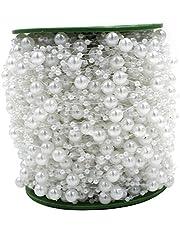 ICTRONIX 60m/ Rollo Imitación Perlas Blancas Redondas Perlas Cadena De Cuentas Para Fiesta Novia de Boda Flor