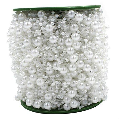 60m/Roll Perlenkette Perlenschnur Perlengirlande Hochzeit Tischdeko Rose Weiß