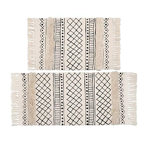 Topotdor Tufted Cotton Area Rug 2 Pieces,Hand Woven Print Boho Tassels Floor Rugs Perfect Bedroom Living Room Bathroom Hallway Home Decor(2' x 3'+ 2' x 4', White Skyline)