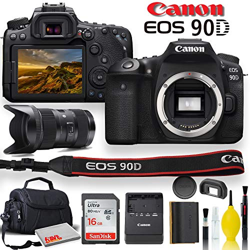 Canon EOS 90D DSLR Camera with Sigma 18-35mm Lens, Soft Padded Case, Memory Card, and More (International Model)