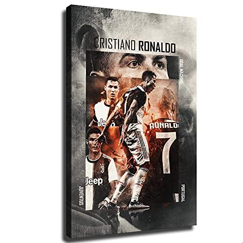 YHML Póster de la Juventus Ronaldo No. 7 Jersey Graffiti Poster Deportes Fútbol Decoración de Pared Decoración de Sala Lienzo Art24x36 pulgadas