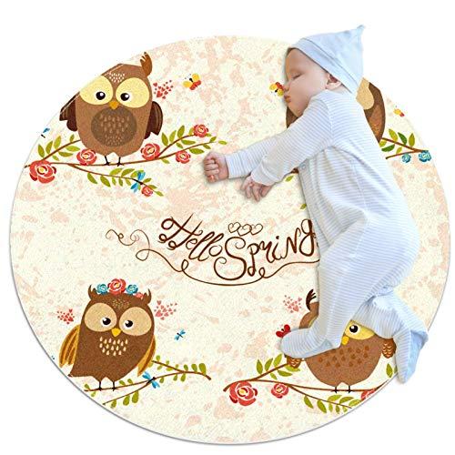 huhulala Alfombra de bebé de gatear Alfombras de varios tamaños redondo guardería infantil manta actividad piso juego Mat decoración de la habitación dibujos animados búhos