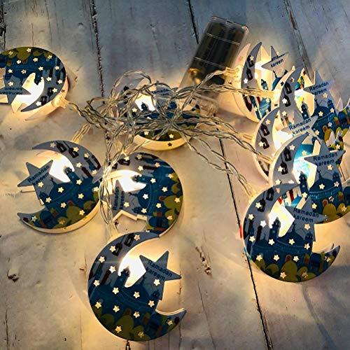 Tenwan LED Eid Mubarak Cadena de luces decorativas musulmanes Ramadán Linternas Cadena de luces duraderas colgantes decoración del partido