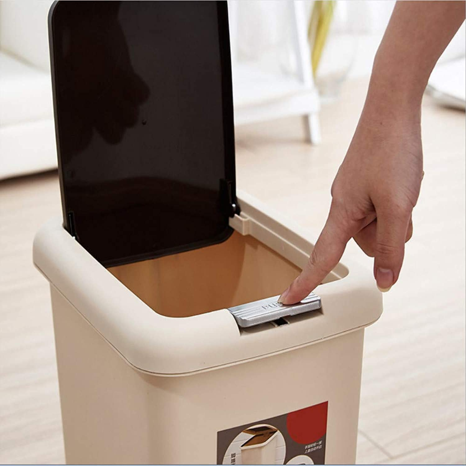 Press The Trash Can with Lid, Fashion Creative Household Trash Can,B