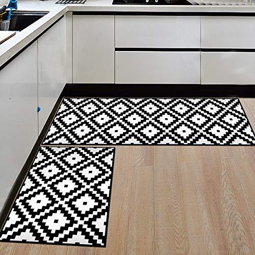 HLXX Alfombra geométrica Antideslizante para Cocina, Alfombra Antideslizante Impermeable para baño, Alfombra para Puerta de Entrada, Alfombra para Piso, Alfombra A14 40x60cm + 40x120cm