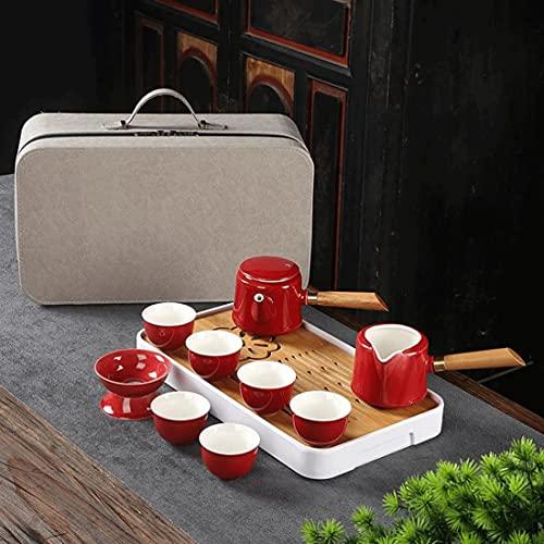 Uioy Juego de té de Kungfu Chino, Tetera de cerámica con 6 Tazas y colador, for el Juego de Regalo de Hotel de Negocios de Picnic al Aire Libre (Color : C)
