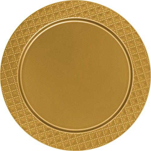 Decorline -Bajo Platos de plástico Resistente Desechables Redondos de 33 cm,Color Oro,Dimaond Collection,2 Piezas