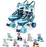 Patines 4 ruedas ajustable disco roler skate patines en paralelo retro quad skate patines para niños adolescentes y adultos tamaño ajustable del zapato (l 39-42, flora)