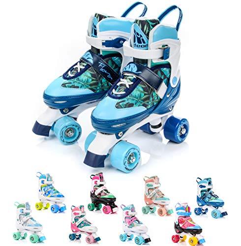 meteor® Retro Rollschuhe: Disco Roller Skate wie in den 80er Jahren, Jugend Rollschuhe, Kinder Quad Skate, 5 Verschiedene Farbvarianten, Einstellbare Größe des Schuhs (S 31-34, Flora)