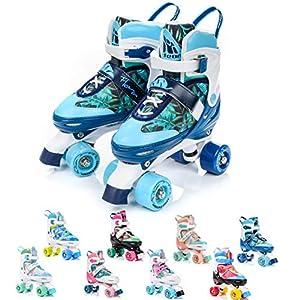 Patines 4 Ruedas Ajustable Disco Roler Skate Patines en Paralelo Retro Quad Skate Patines para Niños Adolescentes y Adultos tamaño Ajustable del Zapato (M 35-38, Flora)
