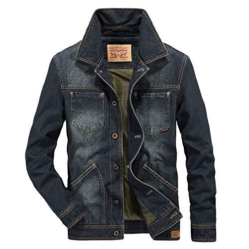 FWJ-clothes Herrenjacken Mäntel Jeansjacke Männer Knopfleiste Denim Bomberjacke Klassische Trucker Jacket,A,XL