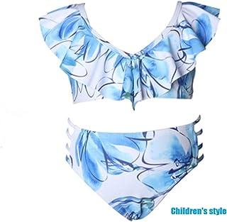 水着レディース2019ブラジル人女性のビキニプリントフリルトップ水着ミドルパンツ(親子の服装) (色 : Child1, サイズ さいず : Child-128)