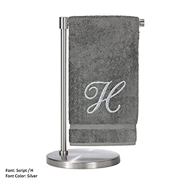 Monogrammed Bath Towel, Personalized Gift, 27 x 54 Inches - Set of 2 - Silver Script Embroidered Towel - 100% Turkish Cotton- Soft Terry Finish - For Bathroom,Kitchen or Spa - Script H Gray