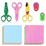 7 piezas de tijeras de seguridad para niños, origami brillante y juego de perforadoras de papel, productos hechos a mano para niños, tijeras de seguridad de plástico para niños