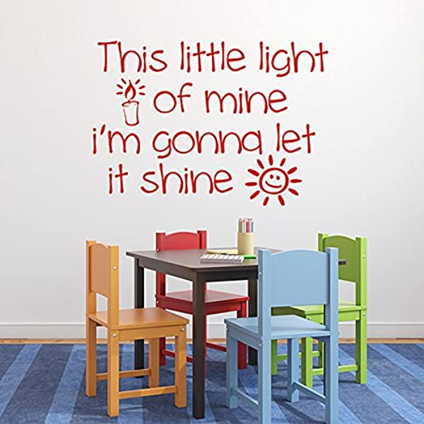 Diuangfoong This Little Light Of Mine Vinyl Decal Sunday School Childrens Church Nursery Decor Bible Song Lyrics Child Decal