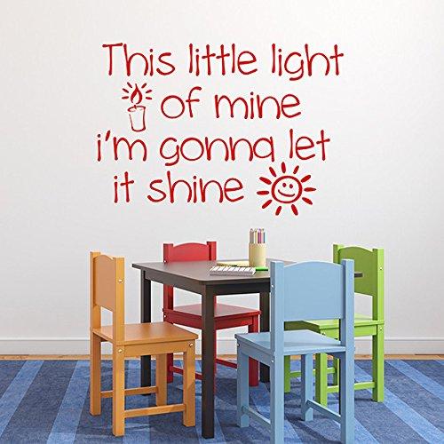 Diuangfoong This Little Light of Mine Vinyl Decal Sunday School Childrens Church Nursery Decor Bible Song Lyrics Child Decal
