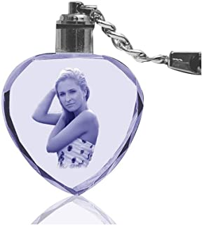Vosfast Customized Crystal Key Chain LED Light 3D Laser Engraved Key Rings for Wedding Anniversary Christmas Holiday-Heart Shaped