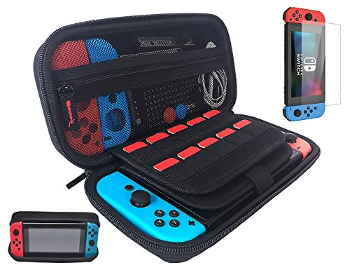 Nintendo Switch Case with Screen Protector Holds 20 Games, Game Case for Nintendo Switch Console and Accessories, Black