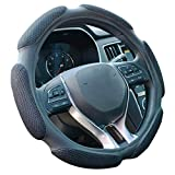 FHQSX Auto Steering Wheel Cover Hand Pad Cushion Slip-on Universal Fit 15'' / 38 cm (Black...