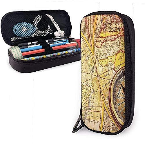 Kompass Auf einer Antiken Weltkarte Niedliche Stift Federmäppchen Leder Große Kapazität Doppelreißverschlüsse Bleistiftbeutel Stifthalter Box 20 cm * 9 cm * 4 cm