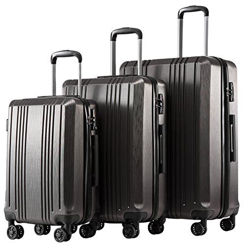 Coolife Luggage Expandable Suitcase PC+ABS 3 Piece Set...