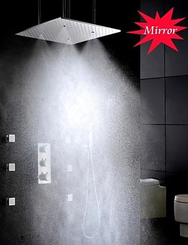 HOSEE Duscharmaturen - Zeitgenssisch - Thermostatische   Regendusche   Seitendüse   Handdusche inklusive - Messing (Chrom)