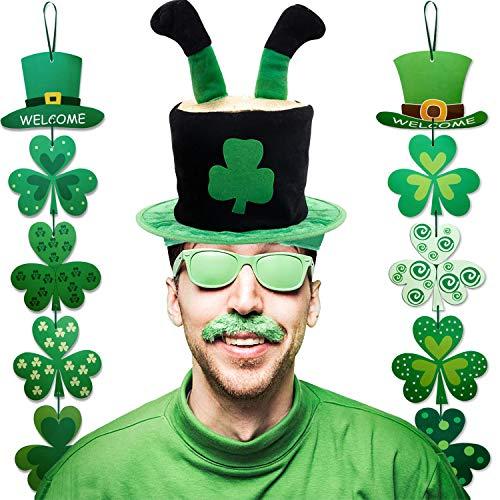 Chapeau de la Saint-Patrick Chapeau de trèfle de Lutin,2PACK St Patricks Day Decoration Panneau de Bienvenue Suspendu Shamrock